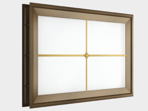 11 Окно акриловое 452х302 коричн. с раскладкой крест для панелей со структурой филенка DH85628