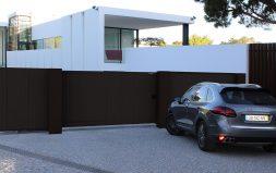 Откатные ворота в алюминиевой раме с заполненением сэндвич-панелями DoorHan SLG-A
