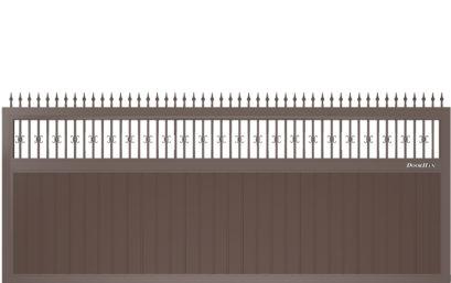 Щит с пиками и вензелями с вертикальным расположением сэндвич-панелей.