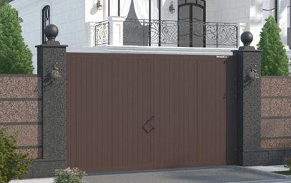 Распашные ворота в алюминиевой раме с заполнением сэндвич-панелями DoorHan SWG-A