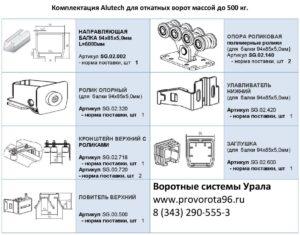 Комплектация балки Alutech для откатных ворот массой до 500 кг