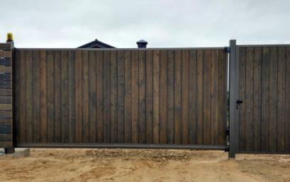 Откатные ворота из профнастила ЭКО проём до 5 м